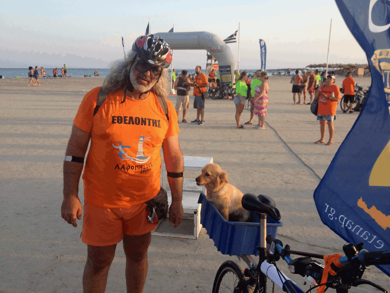 Man with bike and dog